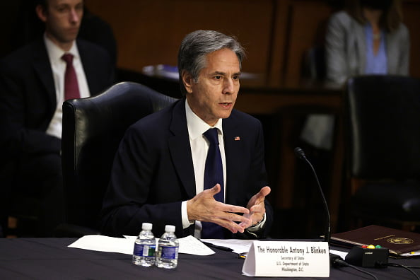 Secretary of State Antony Blinken testifies during a hearing at Hart Senate Office Building in Washington on June 8, 2021. (Alex Wong/Getty Images)