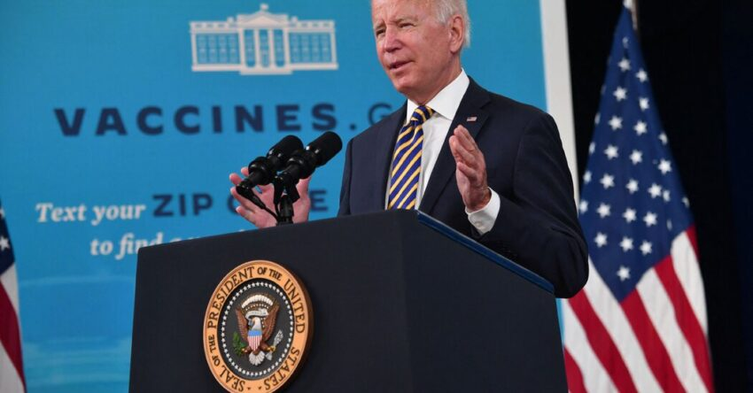 Biden calls on businesses to 'step up' as he expresses optimism about the fight against the virus.