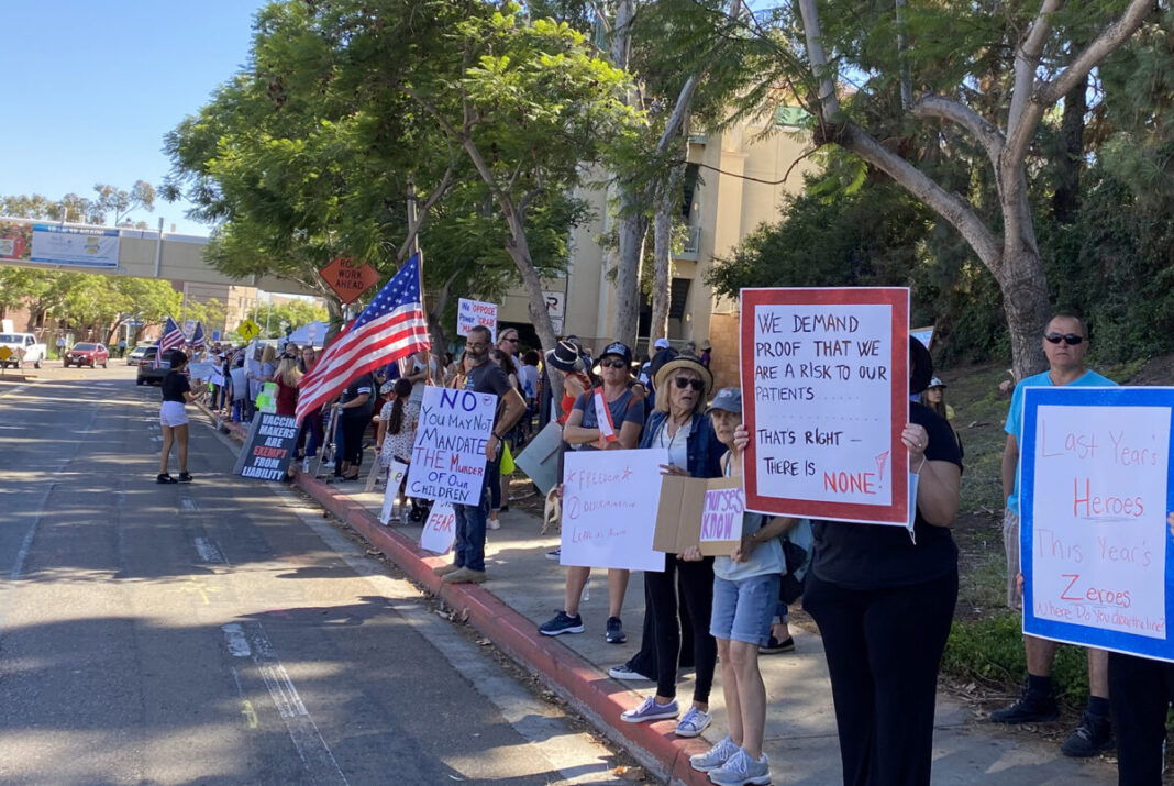 San Diego health workers have protested after the vaccine waiver was rejected